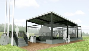 Architects rendering of a proposed pavilion to house the Mercury 7 Gondola.